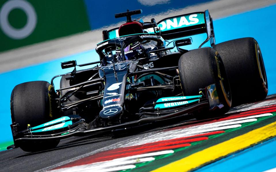 Mercedes' British driver Lewis Hamilton drives during the first practice session at the Red Bull Ring race track in Spielberg, Austria, on June 25, 2021, ahead of the Formula One Styrian Grand Prix - JOE KLAMAR/AFP via Getty Images