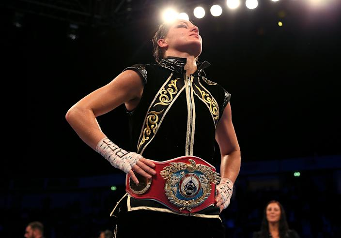 Katie Taylor after victory against Christina Lindardatou (not pictured) in their WBO Super-Lightweight World Title bout at Manchester Arena, Manchester. (Photo by Richard Sellers/PA Images via Getty Images)