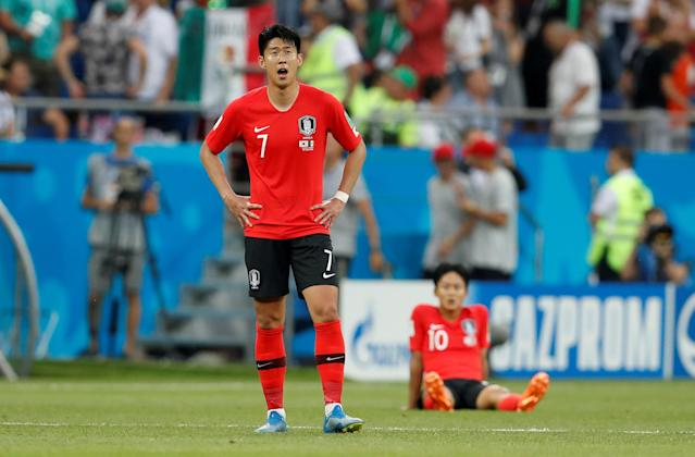 Soccer Football - World Cup - Group F - South Korea vs Mexico - Rostov Arena, Rostov-on-Don, Russia - June 23, 2018 South Korea's Son Heung-min looks dejected at the end of the match REUTERS/Damir Sagolj TPX IMAGES OF THE DAY