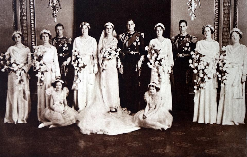 Photograph of the wedding of Prince George, Duke of Kent (1902-1942) and Princess Marina of Greece and Denmark (1906-1968). Also pictured is Prince Albert Frederick Arthur George (1895-1952) and Prince Henry, Duke of Gloucester (1900-1974). Dated 20th Century. (Photo by Universal History Archive/Universal Images Group via Getty Images)