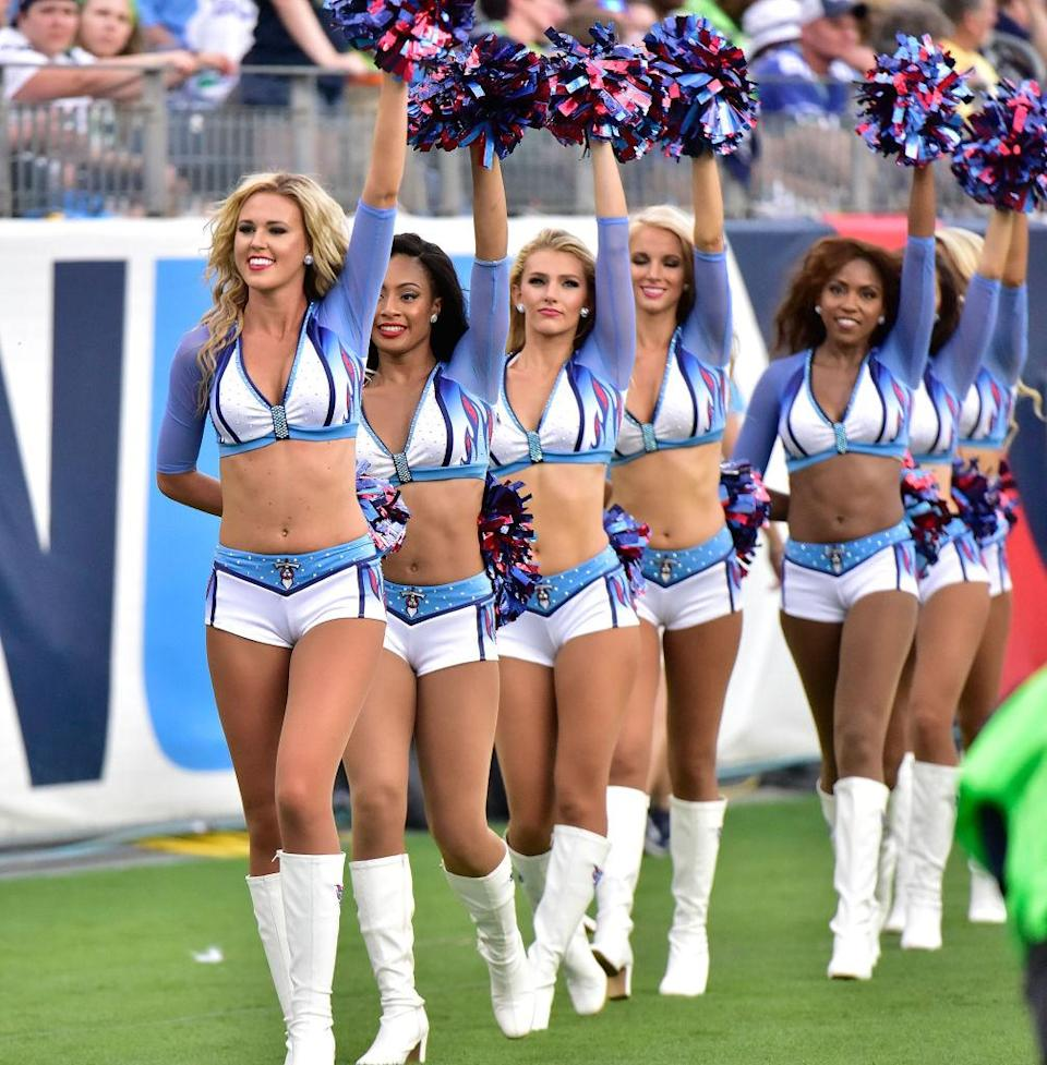 Cheerleaders of the Tennessee Titans walk on the sideline during a game between the Tennessee Titans and the Seattle Seahawks at Nissan Stadium on September 24, 2017 in Nashville, Tennessee.