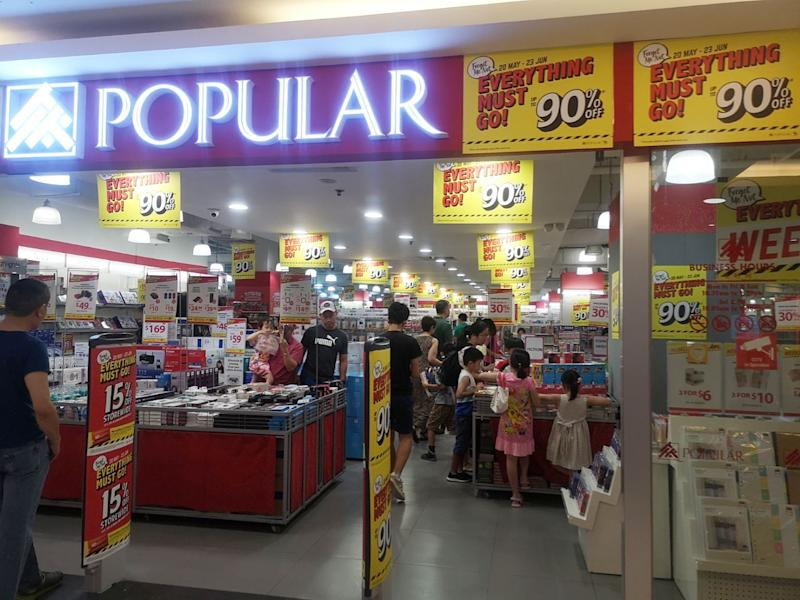 The Thomson Plaza outlet of Popular bookstore, which is closing on 23 June 2019. (PHOTO: Popular)