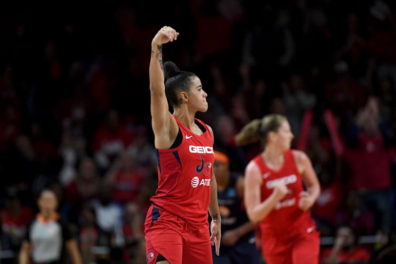 WASHINGTON, DC - OCTOBER 10: Washington Mystics guard Natasha Cloud (9) flexes her muscles after hitting a crucial shot late in the game at the Entertainment and Sports Arena for the WNBA Championship title October 10, 2019 in Washington, DC. The Washington Mystics won the championship 89-78 over the Connecticut Sun. (Photo by Katherine Frey/The Washington Post via Getty Images)