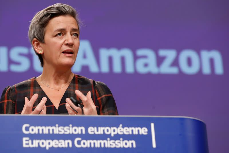 FILE PHOTO: European Commission Vice-President Vestager gives a news conference on a competition case