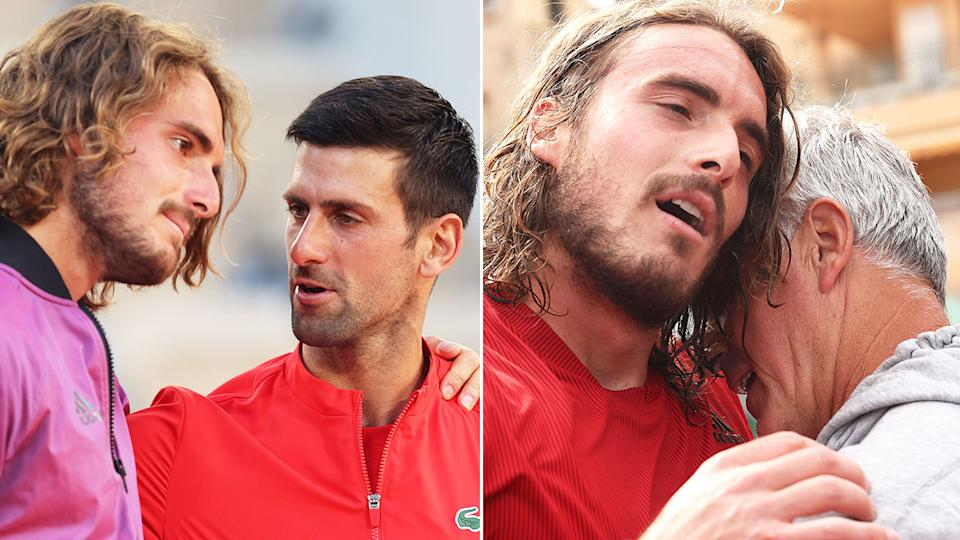 Pictured here, Stefanos Tsitsipas with Novak Djokovic and his father Apostolos on the right.