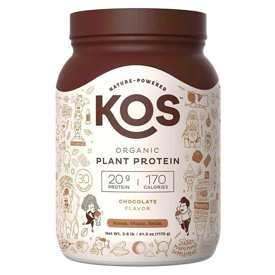"<p><strong>KOS</strong></p><p>amazon.com</p><p><strong>$43.88</strong></p><p><a href=""https://www.amazon.com/dp/B0767Z2Y25?tag=syn-yahoo-20&ascsubtag=%5Bartid%7C2141.g.27044014%5Bsrc%7Cyahoo-us"" rel=""nofollow noopener"" target=""_blank"" data-ylk=""slk:Shop Now"" class=""link rapid-noclick-resp"">Shop Now</a></p><p>This organic protein powder from KOS is packed with 20 grams of protein per serving from flax seeds, quinoa, and peas—plus it's naturally tasty thanks to other ingredients like cacao, monk fruit, and coconut. Another bonus? This chocolately protein powder contains beneficial vitamins from fruits and veggies, essentially replacing the general multi-vitamin. ""This is the only protein powder that has such a delicious balanced taste, and I tend to not like sweet or flavored protein powders at all!"" writes one Amazon customer. ""I look forward to drinking this before and after my workouts and absolutely love that it is plant-based.""</p><p><strong>Nutrition info (per 2-scoop serving): </strong>170 calories, 6 g fat (4 g saturated fat), 9 g carbs (2 g fiber, 2 g sugar), 20 g protein, 190 mg sodium</p>"