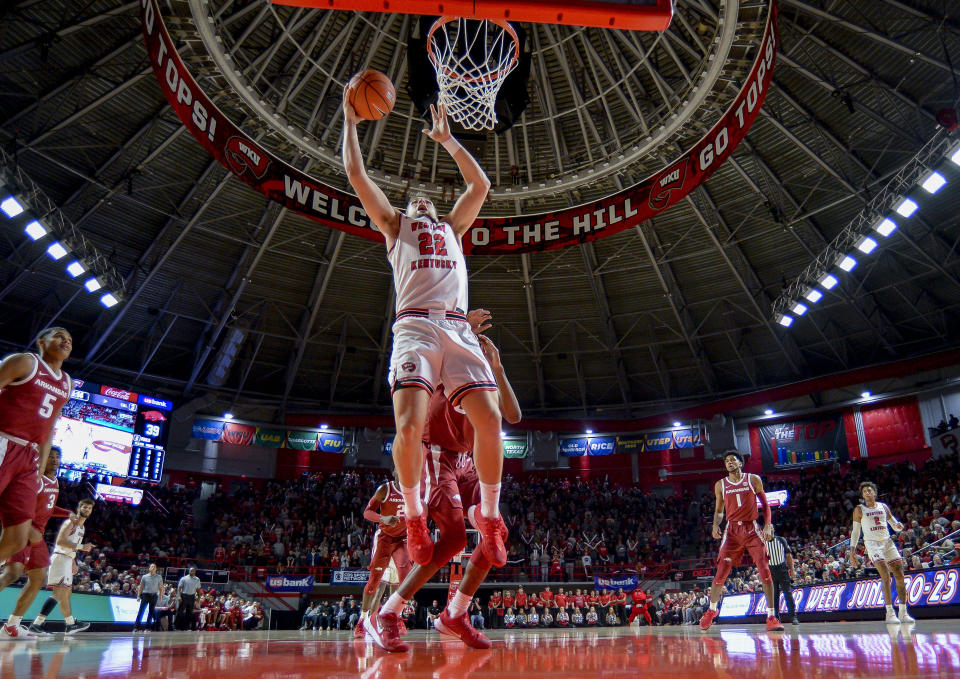 Western Kentucky forward Carson Williams (22) played basketball two years for the Hilltoppers. (Photo by Steve Roberts/Icon Sportswire via Getty Images)