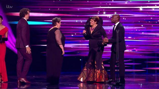 Jenny Ryan and the Chasers celebrating Beat The Chasers' NTAs victory (Photo: ITV)