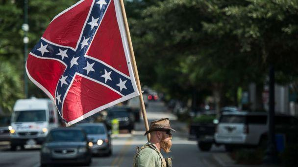 PHOTO: A Confederate flag supporter arrives at the South Carolina Statehouse on July 10, 2017 in Columbia, S.C. (Sean Rayford/Getty Images, FILE)
