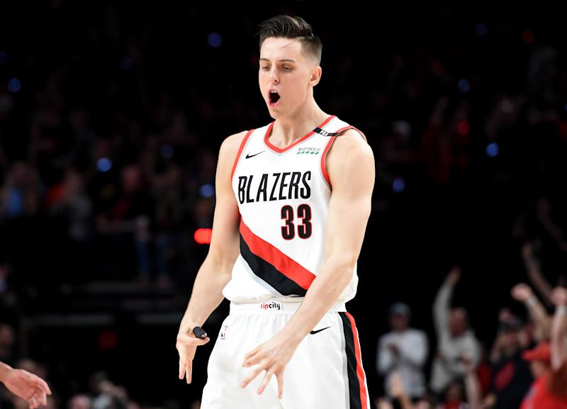 PORTLAND, OREGON - MAY 03: Zach Collins #33 of the Portland Trail Blazers reacts after hitting a shot during the second half of game three of the Western Conference Semifinals against the Denver Nuggets at Moda Center on May 03, 2019 in Portland, Oregon. The Blazers won 140-137 in 4 overtimes. NOTE TO USER: User expressly acknowledges and agrees that, by downloading and or using this photograph, User is consenting to the terms and conditions of the Getty Images License Agreement. (Photo by Steve Dykes/Getty Images)