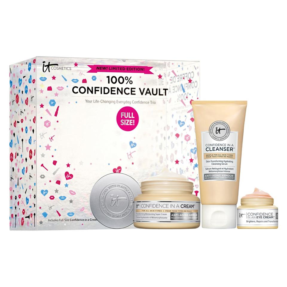"<p>Usually, I wouldn't recommend getting anyone a skin care set that screams anti-aging — but my mom and I have something in common: We love It Cosmetics' Confidence in a Cream. With this under-$50 kit, I can restock her favorite moisturizer and score her two travel-sized essentials to take with her everywhere. <br /><strong><a rel=""nofollow"" href=""https://fave.co/2AEJtKb"">Shop it</a>:</strong> $48, <a rel=""nofollow"" href=""https://fave.co/2AEJtKb"">ulta.com</a> </p>"