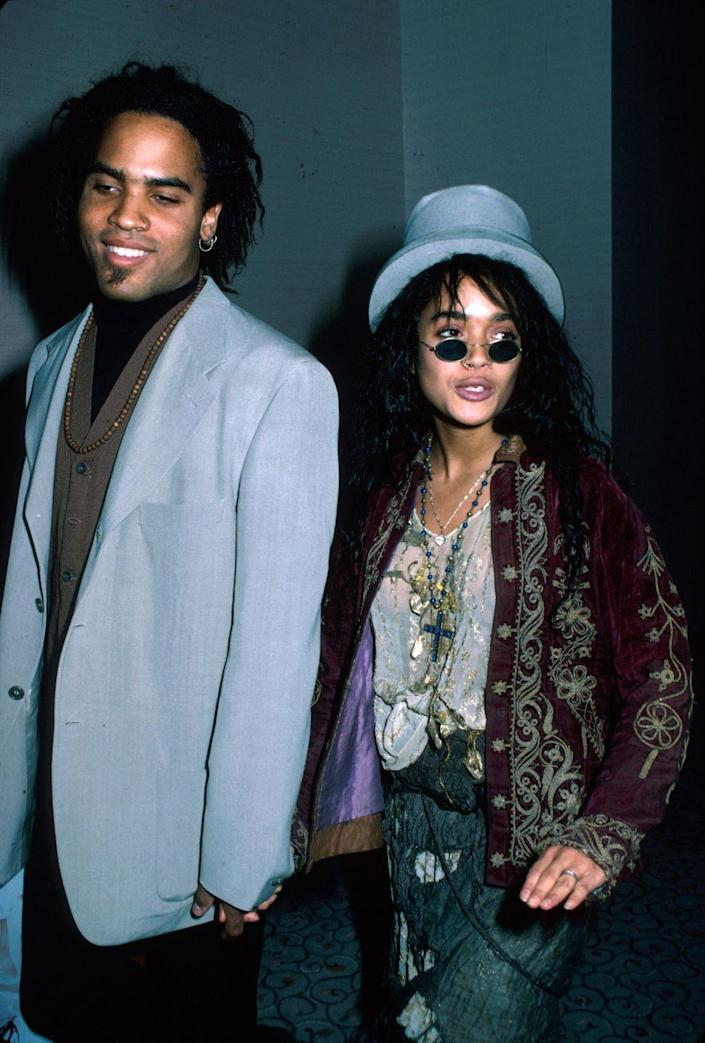 <p>Lisa Bonet and Lenny Kravitz redefine couple dressing in coordinating pale-blue looks. </p>