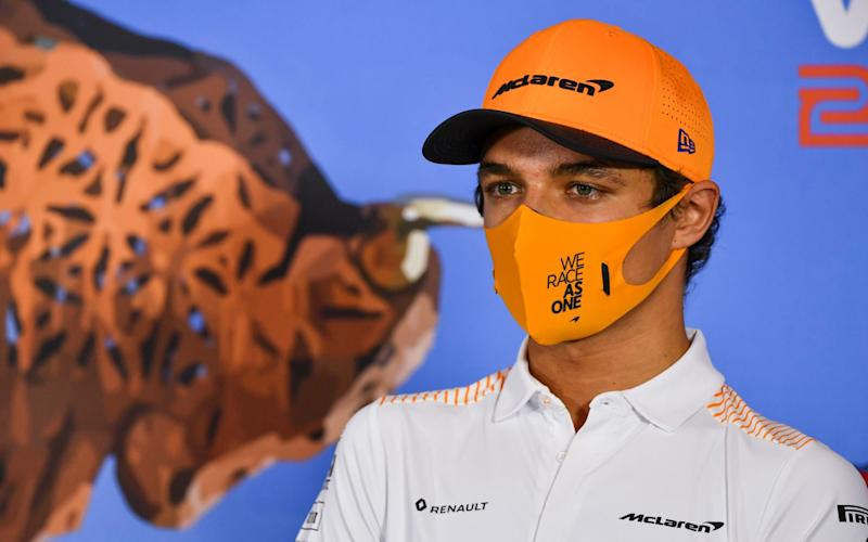Mclaren driver Lando Norris of Britain speaks during drivers news conference the at the Red Bull Ring racetrack in Spielberg - Mark Sutton/Pool via AP