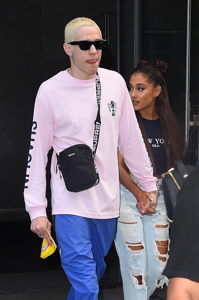 Pete Davidson and Ariana Grande on July 11 in Manhattan. (Photo: Josiah Kamau/BuzzFoto/Getty Images)
