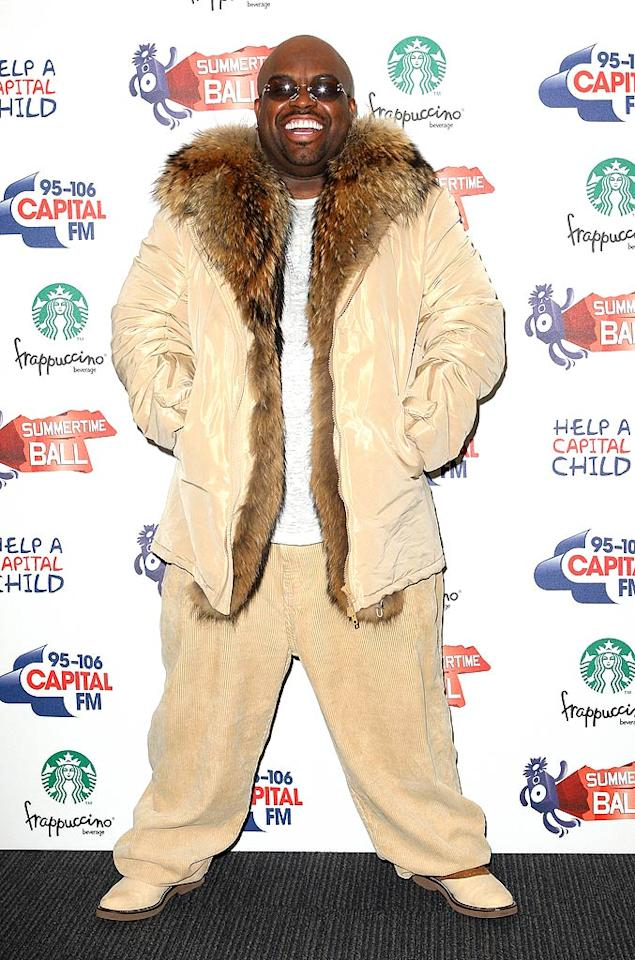 "Also spotted at Capital Radio's Summertime Ball was ""Voice"" coach Cee Lo Green, who opted for a bit too much beige ... and a bit too much fur, which hopefully was faux. Gotcha Images/<a href=""http://www.splashnewsonline.com"" target=""new"">Splash News</a> - June 13, 2011"