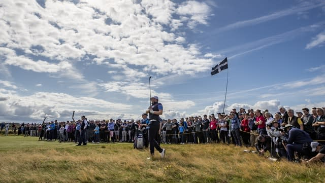 Harry Hall plays an approach to the 16th hole during day one of the 47th Walker Cup at Royal Liverpool (Peter Byrne/PA)