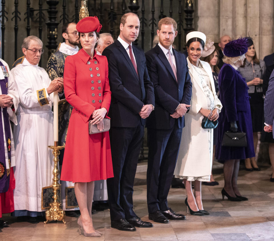 The Cambridges and Sussexes at the Commonwealth Day service last week [Photo: Getty]