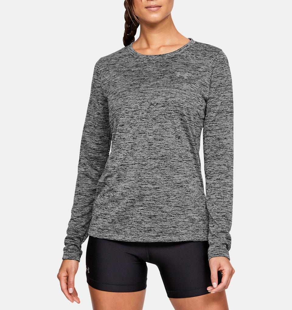 <p>The <span>Under Armour Women's UA Tech Twist Crew Long Sleeve shirt</span> ($30) is the perfect top for my outdoor workout classes because it keeps me warm on cooler days, but I never get too hot, even during the hardest parts of the workout. The fit is also ideal for functional movement: it's fitted so it doesn't get caught in equipment, but it's not too tight, so I feel like I can move around comfortably. Plus, the $30 is a steal compared to other competitors.</p>