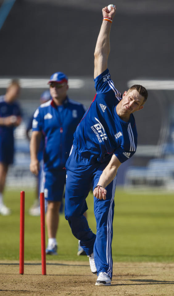England's Boyd Rankin bowling in the nets at the Ageas Bowl, Southampton ahead of England's T20 match against Australia tomorrow.