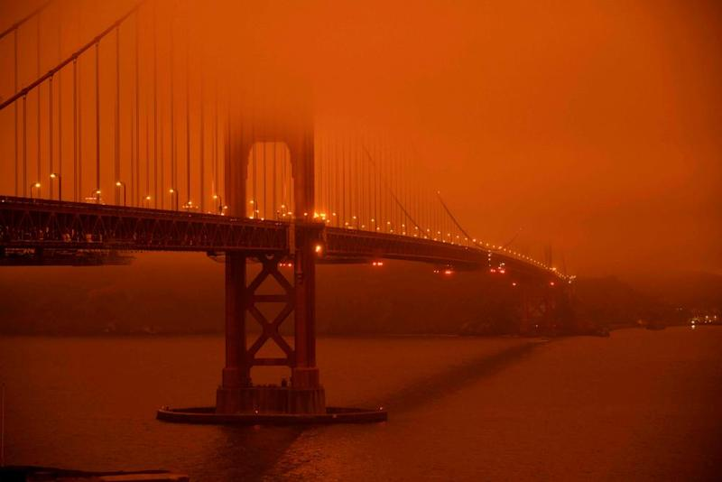 The bridge on 9 September amid wildfire smoke.