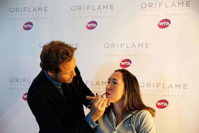 ISTANBUL, TURKEY - OCTOBER 20: Jelena Jankovic of Serbia attends the Oriflame Style Suite and has her make-up done during the previews of the TEB BNP Paribas WTA Championships at the Renaissance Polat Istanbul Hotel on October 20, 2013 in Istanbul, Turkey. (Photo by Dean Mouhtaropoulos/Getty Images)