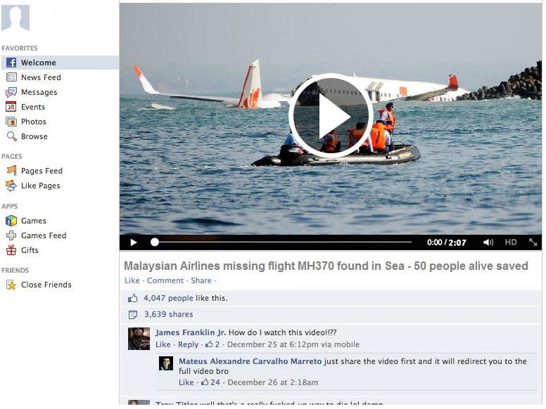Missing Malaysia Airlines Flight MH370 Found in Bermuda Triangle-like Fake Stories Posted on Facebook