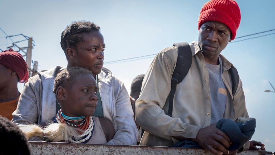 Establishing scenes show the couple fleeing south Sudan for Britain (Photo: Netflix)