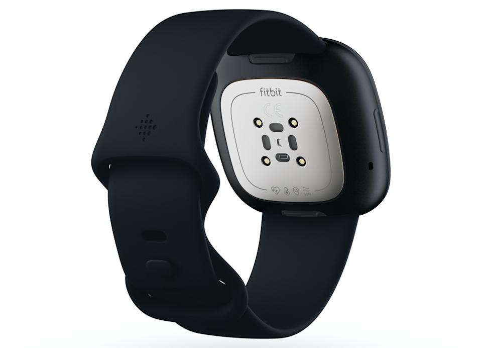 The rear sensor of the Fitbit Sense can measure your body temperature and more. (Image: Fitbit)