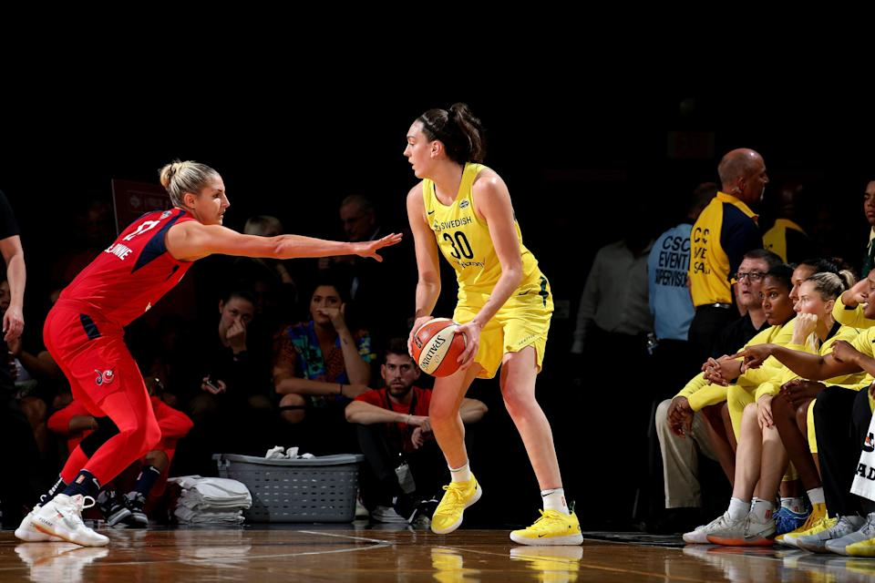 FAIRFAX, VA - SEPTEMBER 12: Breanna Stewart #30 of the Seattle Storm handles the ball against the Washington Mystics during Game Three of the 2018 WNBA Finals on September 12, 2018 at Eaglebank Arena at George Mason University in Fairfax, VA. NOTE TO USER: User expressly acknowledges and agrees that, by downloading and or using this photograph, User is consenting to the terms and conditions of the Getty Images License Agreement. Mandatory Copyright Notice: Copyright 2018 NBAE (Photo by Ned Dishman/NBAE via Getty Images)