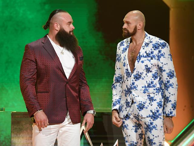 "WWE wrestler Braun Strowman (L) and heavyweight boxer Tyson Fury will wrestle on Oct. 31 at WWE's ""Crown Jewel."" (Ethan Miller/Getty Images)"