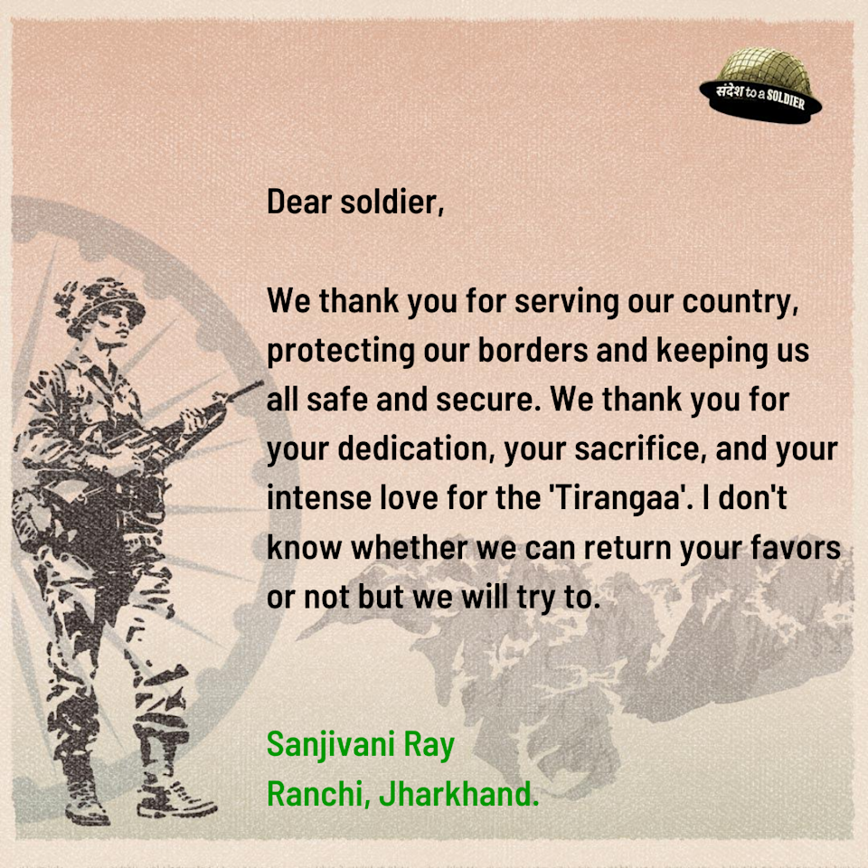 Sanjivani Ray from Jharkhand sends her sandesh to a soldier.