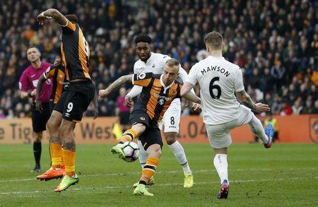 Britain Football Soccer - Hull City v Swansea City - Premier League - The Kingston Communications Stadium - 11/3/17 Hull City's Kamil Grosicki has a shot at goal Action Images via Reuters / Ed Sykes Livepic