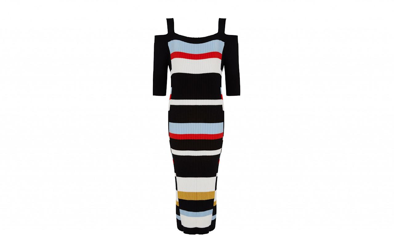 "The cold shoulder trend is showing no signs of slowing down. So why not get onboard with this knitted stripy dress? Figure hugging it may be but this style is flattering for all body types.<br /><a rel=""nofollow"" href=""http://www.marksandspencer.com/striped-cold-shoulder-shift-dress/p/p22509831?image=SD_01_T42_6118_F4_X_EC_90&color=NAVYMIX&prevPage=plp&pdpredirect""><i>M&S, £39.50</i></a>"