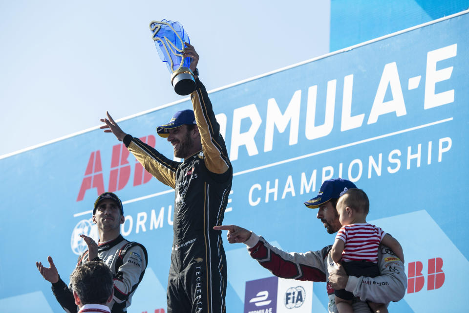 NEW YORK, NY - JULY 13: In this handout from FIA Formula E Championship winner Jean-Eric Vergne (FRA), DS TECHEETAH celebrates on the podium with Sébastien Buemi (CHE), Nissan e.Dams, 2nd position, and Lucas Di Grassi (BRA), Audi Sport ABT Schaeffler, 3rd position  during the New York E-Prix, Race 12 of the 2018/19 ABB FIA Formula E Championship at Brooklyn Street Circuit  {Photo by FIA ABB Formula-E Handout/Getty Images,)