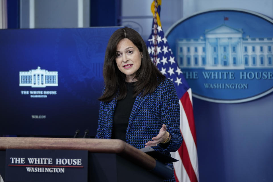Deputy national security adviser for cyber and emerging technology Anne Neuberger speaks at a White House press briefing in February. (Drew Angerer/Getty Images)