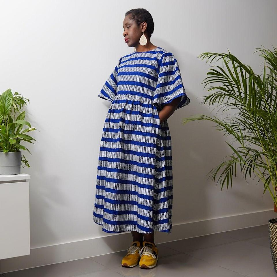 "<br> <br> <strong>Kemi Telford</strong> Maya Blue Stripe Dress, $, available at <a href=""https://go.skimresources.com/?id=30283X879131&url=https%3A%2F%2Fkemitelford.com%2Fcollections%2Fdresses%2Fproducts%2Ftodo-blue-stripe-dress"" rel=""nofollow noopener"" target=""_blank"" data-ylk=""slk:Kemi Telford"" class=""link rapid-noclick-resp"">Kemi Telford</a>"