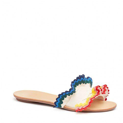 """<p>I'm obsessed with Ric Rac and am so happy to see Loeffler Randall bringing it back for Spring. These slides will make the taking my dog out to pee a way more chic experience. -<em> Mehera Bonner, Senior Entertainment Editor</em></p><p><em>Loeffler Randall Birdie Ruffle Slide, $295 <a rel=""""nofollow"""" href=""""https://www.loefflerrandall.com/birdie-cvrr-nat-rbow.html"""">SHOP IT</a> </em></p>"""