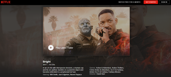"Netflix landing page for the movie ""Bright,"" showing Will Smith and an Orc"