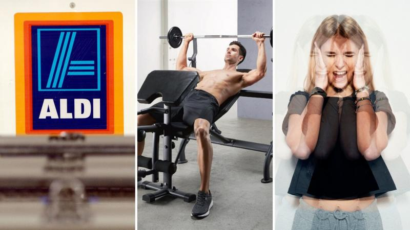 An Aldi sign on the left, a man lifting weights on a bench in the centre, and a frustrated woman on the right.