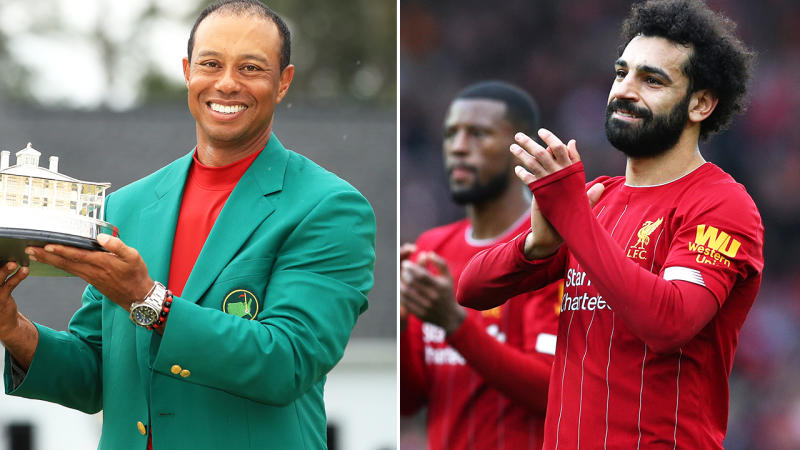 Tiger Woods and Mo Salah, pictured here at the Masters and Premier League.