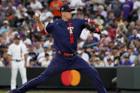 American League's Kyle Gibson, of the Texas Rangers, throws during the third inning of the MLB All-Star baseball game, Tuesday, July 13, 2021, in Denver. (AP Photo/Jack Dempsey)