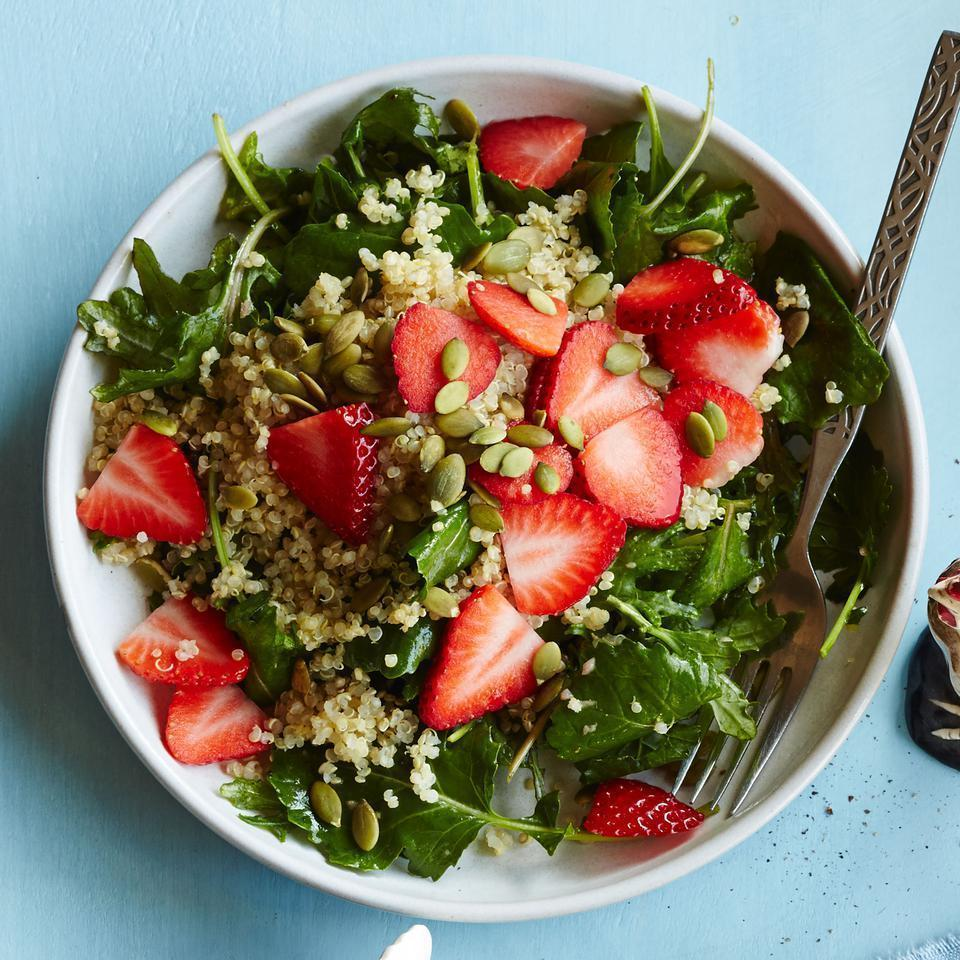 <p>Fruit, whole grains and greens for breakfast? Yes! Start your day off right with this breakfast salad recipe and you'll knock out half of your daily veggie quota with the first meal of the day.</p>
