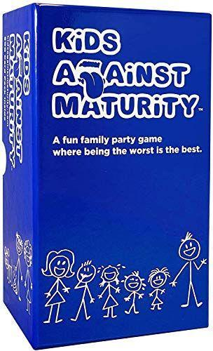 """<p><strong>Kids Against Maturity</strong></p><p>amazon.com</p><p><strong>$29.99</strong></p><p><a href=""""https://www.amazon.com/dp/B076PRWVFG?tag=syn-yahoo-20&ascsubtag=%5Bartid%7C10065.g.32745954%5Bsrc%7Cyahoo-us"""" rel=""""nofollow noopener"""" target=""""_blank"""" data-ylk=""""slk:BUY NOW"""" class=""""link rapid-noclick-resp"""">BUY NOW</a></p><p>Growing up isn't for everyone, and Kids Against Maturity is for people at one with their inner child. Although this game isn't affiliated with Cards Against Humanity, the gameplay is similar—players fill in blanks to create some unexpected LOL moments that all ages will love.</p>"""