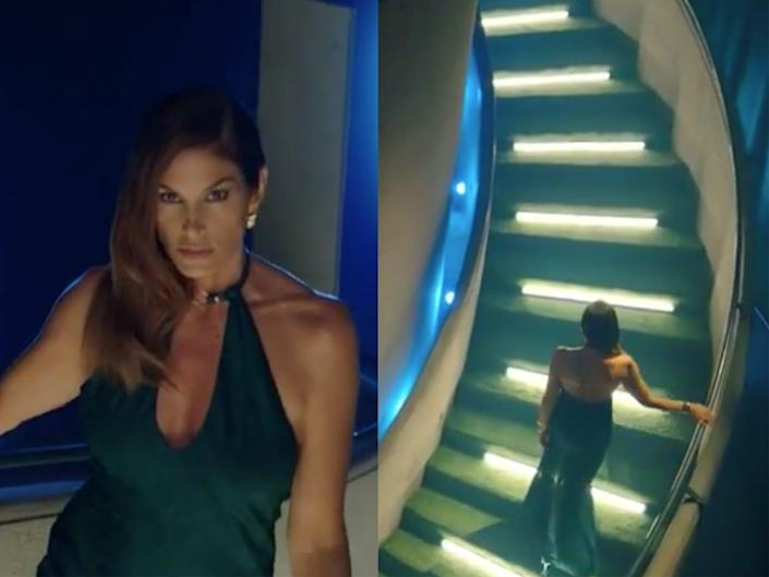 A side by side of Cindy Crawford staring into a camera and climbing a spiral staircase.