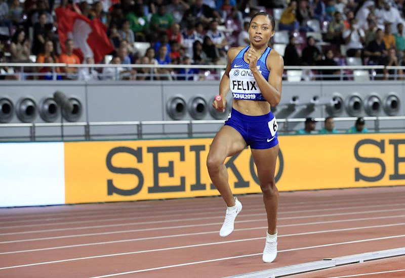 DOHA, QATAR - OCTOBER 05: Allyson Felix of the United States competes in the Women's 4x400 metres relay heats during day nine of 17th IAAF World Athletics Championships Doha 2019 at Khalifa International Stadium on October 05, 2019 in Doha, Qatar. (Photo by Andy Lyons/Getty Images for IAAF)