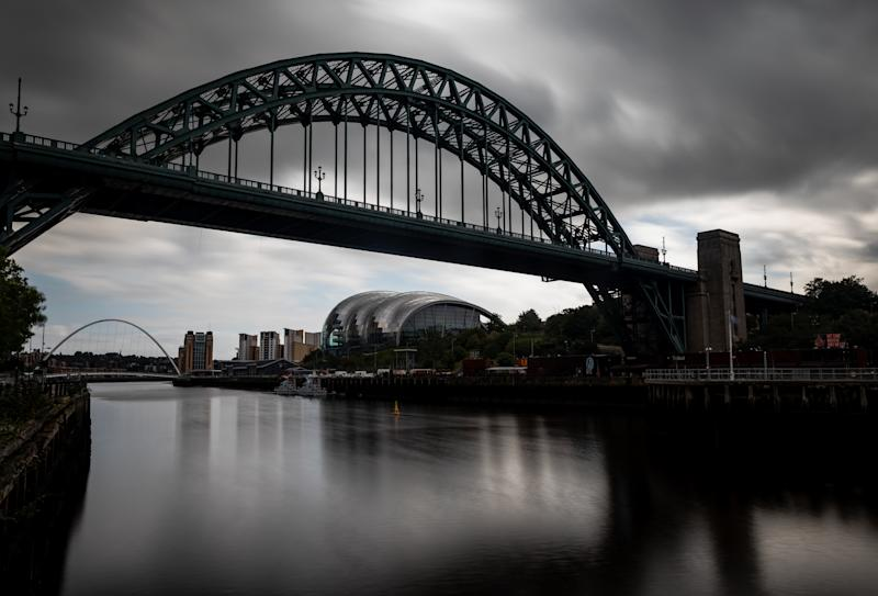 General view of Tyne Bridge, Sage Gateshead and Gateshead Millennium Bridge in Newcastle