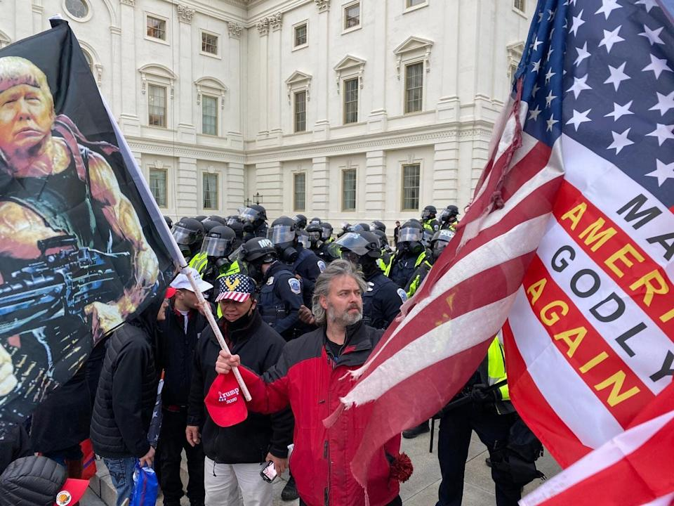 Security forces block the entrance after rioters, including some carrying Christian symbols and signs, breached the U.S. Capitol on Jan. 6. (Photo: Tayfun Coskun/Anadolu Agency via Getty Images)