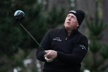February 8, 2019; Pebble Beach, CA, USA; Phil Mickelson hits his tee shot on the 10th hole during the second round of the AT&T Pebble Beach Pro-Am golf tournament at Spyglass Hill Golf Course. Mandatory Credit: Kyle Terada-USA TODAY Sports