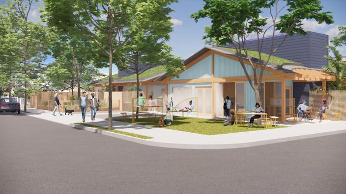 An architectural rendering shows ranch-inspired bungalows with wood trim on a tree-lined city corner.