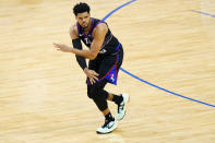 Philadelphia 76ers' Tobias Harris reacts after making a three-pointer during the second half of Game 1 of a first-round NBA basketball playoff series against the Washington Wizards, Sunday, May 23, 2021, in Philadelphia. (AP Photo/Matt Slocum)